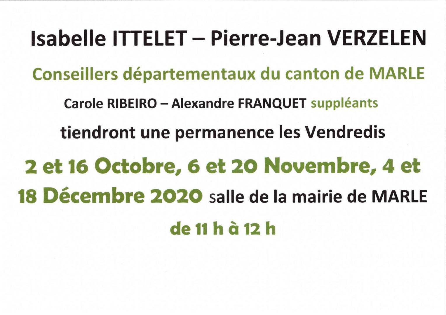 Permanences des Conseillers départementaux du Canton de Marle