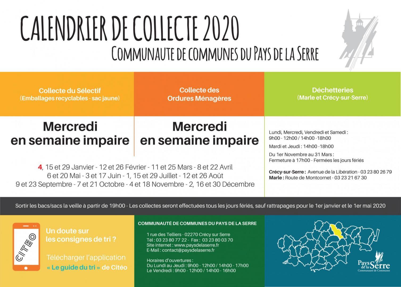CALENDRIER DE COLLECTE 2020 SUITE