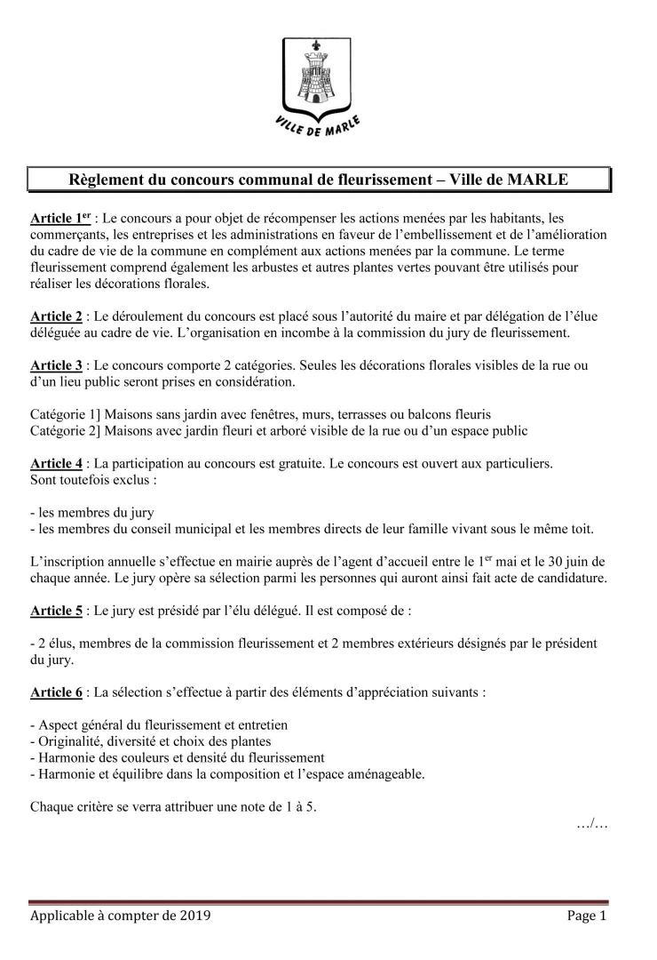 Règlement du concours de fleurissement page 1