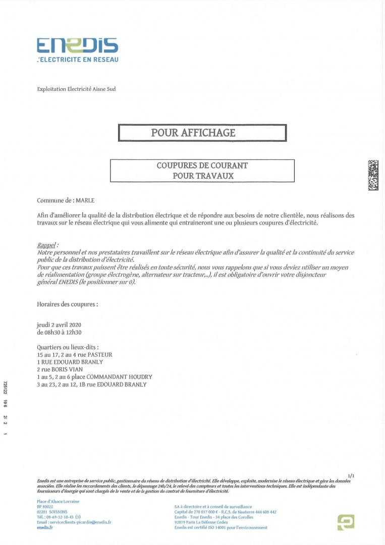COUPURES DE COURANT ENEDIS JEUDI 02 AVRIL 2020 DE 8H30 A 12H30