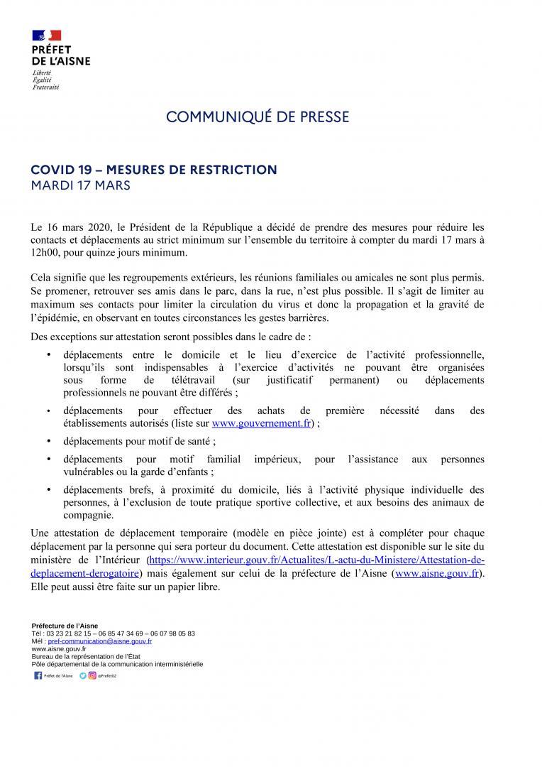 CP_COVID19 - Mesures de restriction - 17 mars-14h