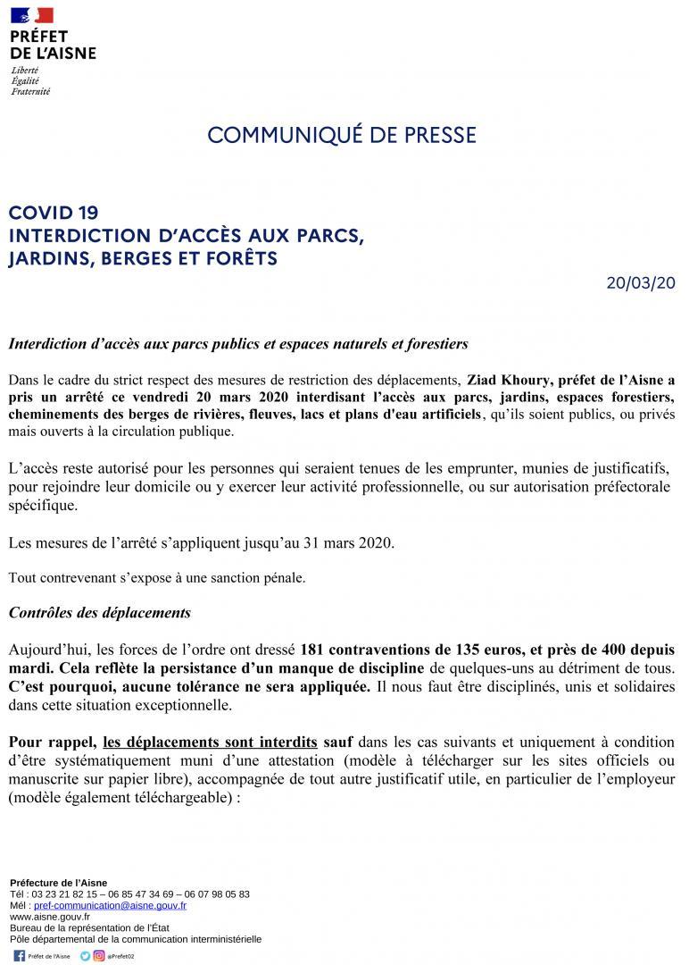 CP - Interdiction d'accès aux parcs, jardins, berges et forêts + Arrêté