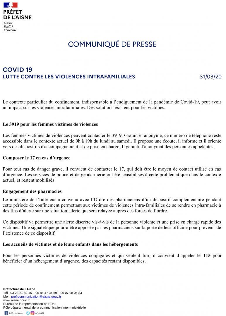 LUTTE CONTRE LES VIOLENCES INTRAFAMILIALES - CP 31 mars 2020