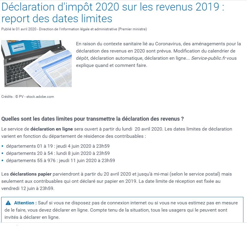 DECLARATION D'IMPOT 2020 SUR LES REVENUS 2019