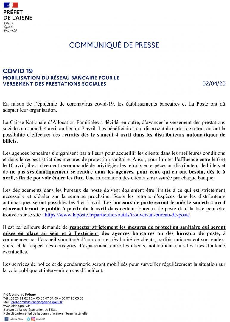 VERSEMENT DES PRESTATIONS SOCIALES - 02 AVRIL 2020