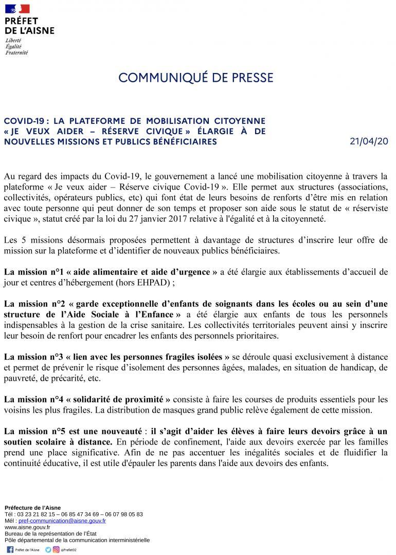 RESERVE CIVIQUE - MISSIONS ELARGIES - CP DU 21 AVRIL 2020 - PAGE 1