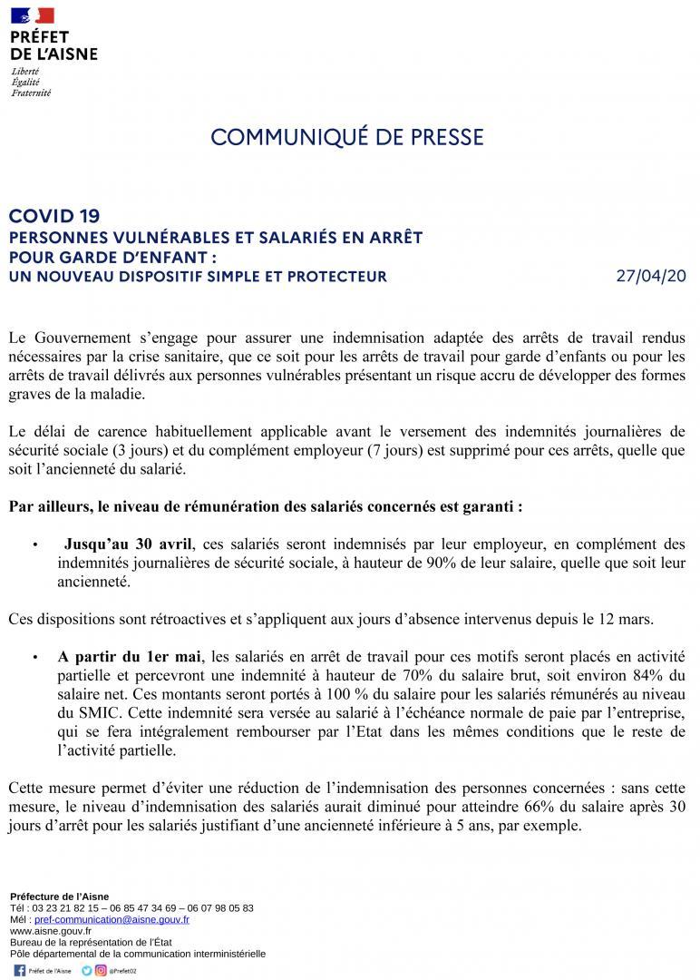 INDEMNISATION ADAPTEE DES ARRETS DE TRAVAIL - CP DU 27 AVRIL 2020 - PAGE 1