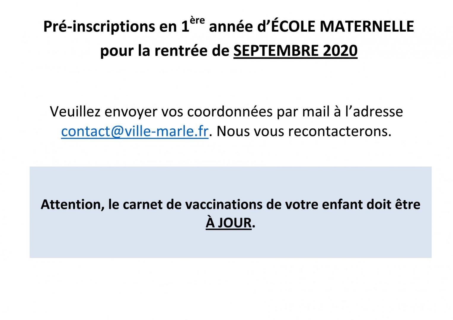 Pré-Inscriptions Ecoles Maternelles 2020-2021