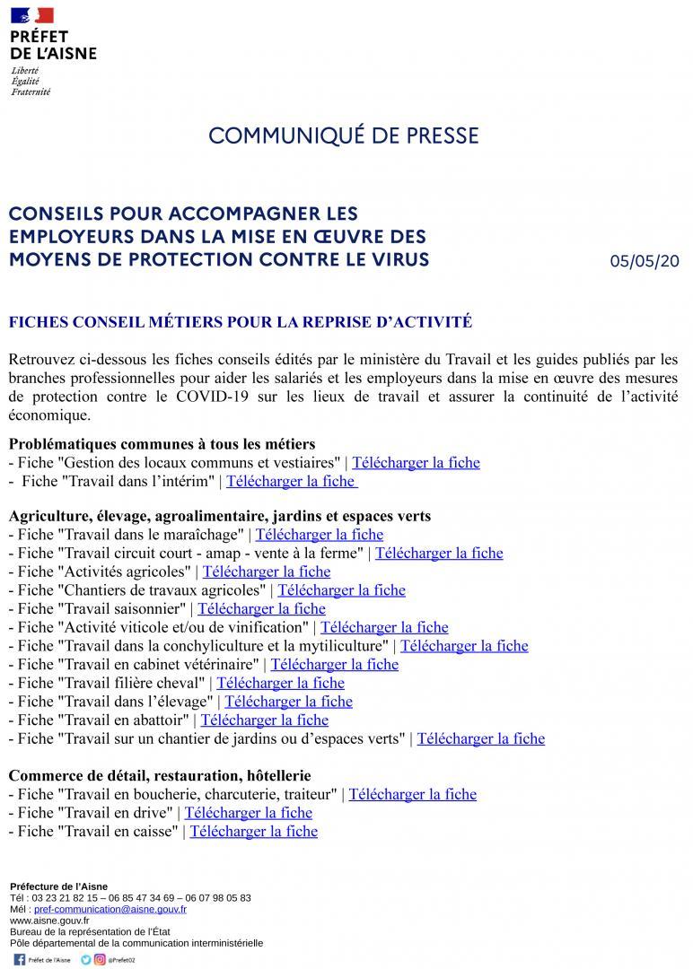 CONSEILS POUR ACCOMPAGNER LES EMPLOYEURS DANS LA MISE EN OEUVRE DES MOYENS DE PROTECTION CONTRE LE VIRUS - CP du 5 mai 2020 - page 1