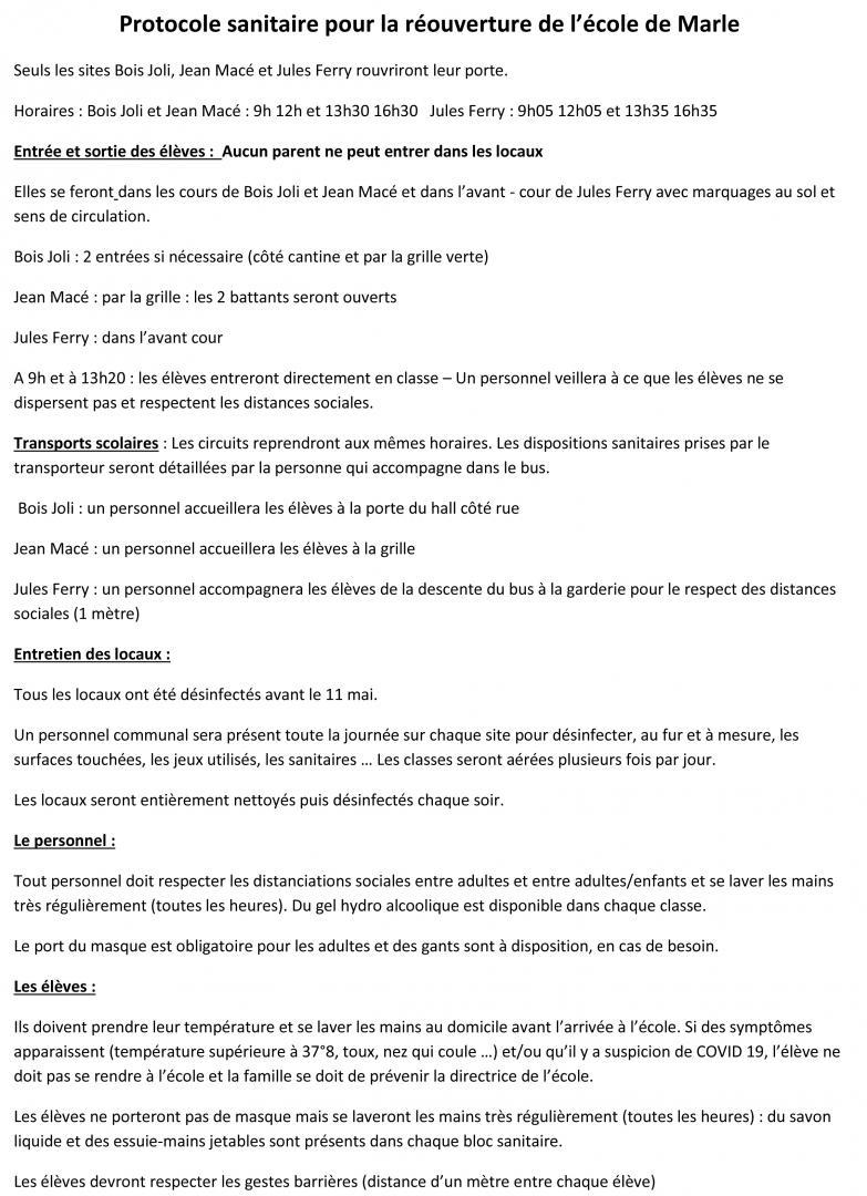 Protocole sanitaire pour la réouverture de l'école de Marle - page 1