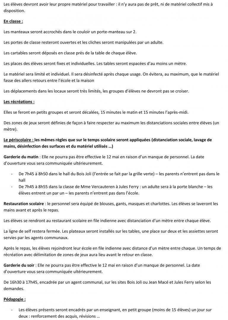 Protocole sanitaire pour la réouverture de l'école de Marle - page 2
