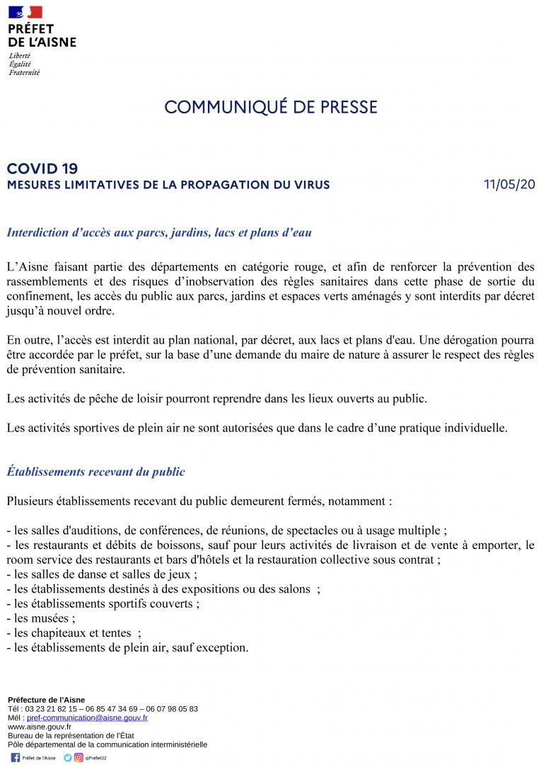 MESURES LIMITATIVES DE LA PROPAGATION DU VIRUS - CP DU 11 MAI 2020 - page 1