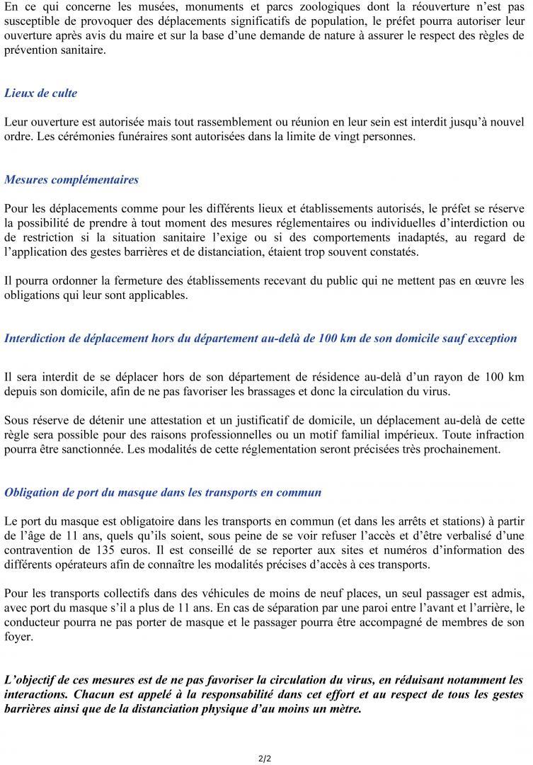MESURES LIMITATIVES DE LA PROPAGATION DU VIRUS - CP DU 11 MAI 2020 - page 2