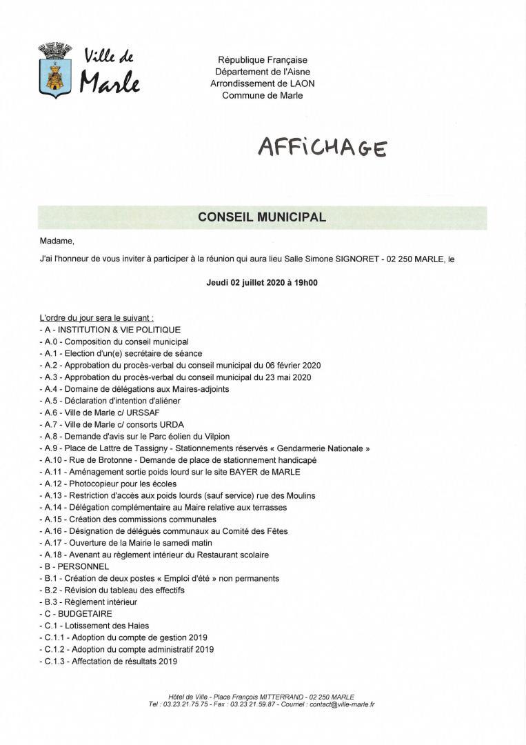 CONSEIL MUNICIPAL du Jeudi 02 Juillet 2020 - 1