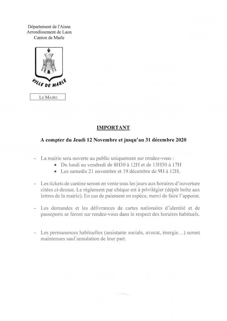 Note de service aménagement des horaires d'ouverture de la mairie jeudi 12 novembre 2020