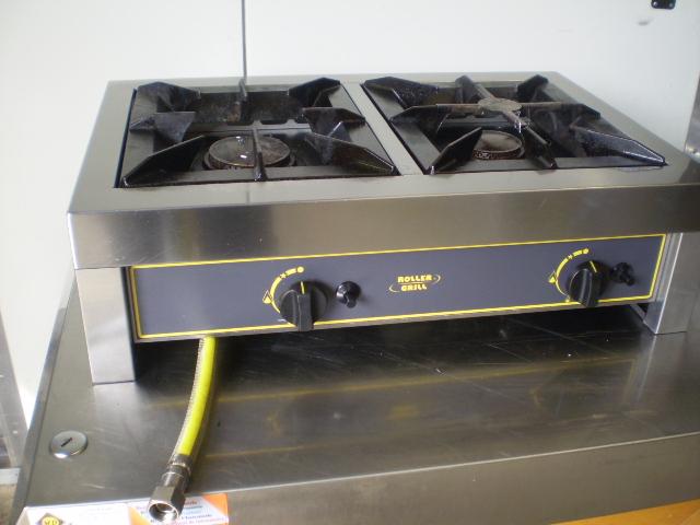 Réchaud gaz à 2 feux 7 + 5 kw roller grill